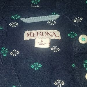 Merona Tops - Navy popover top with white and green print